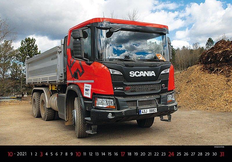 Kalendarz ścienny wieloplanszowy Trucks 2021 - październik 2021