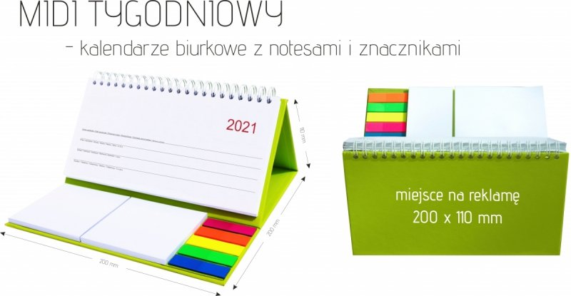 Wymiary kalrndarza biurkowego z notesami i znacznikami MIDI TYGODNIOWY 2021