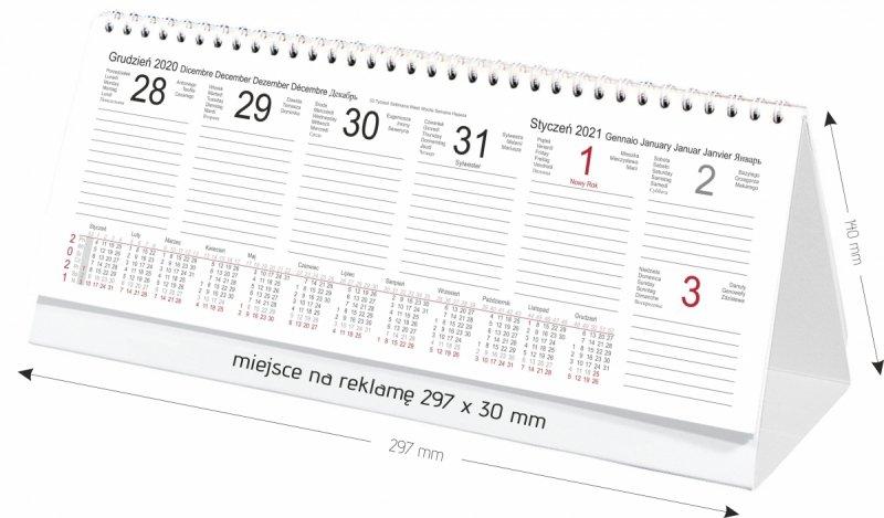 Kalendarz biurkowy stojący POZIOMY TYGODNIOWY 2021 - wymiary