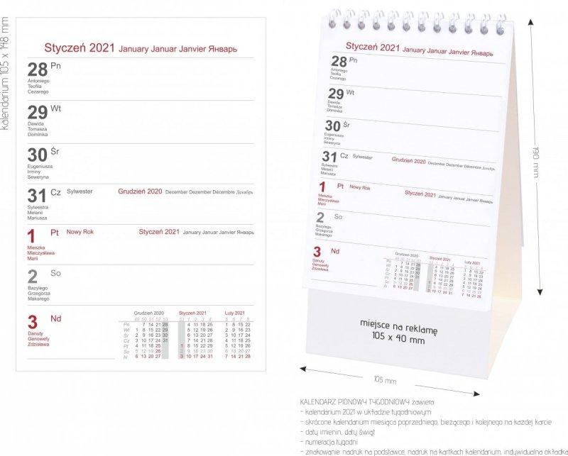 Wymiary kalendarza biurkowego pionowego tygodniowego na kartonowej podstawce 2021