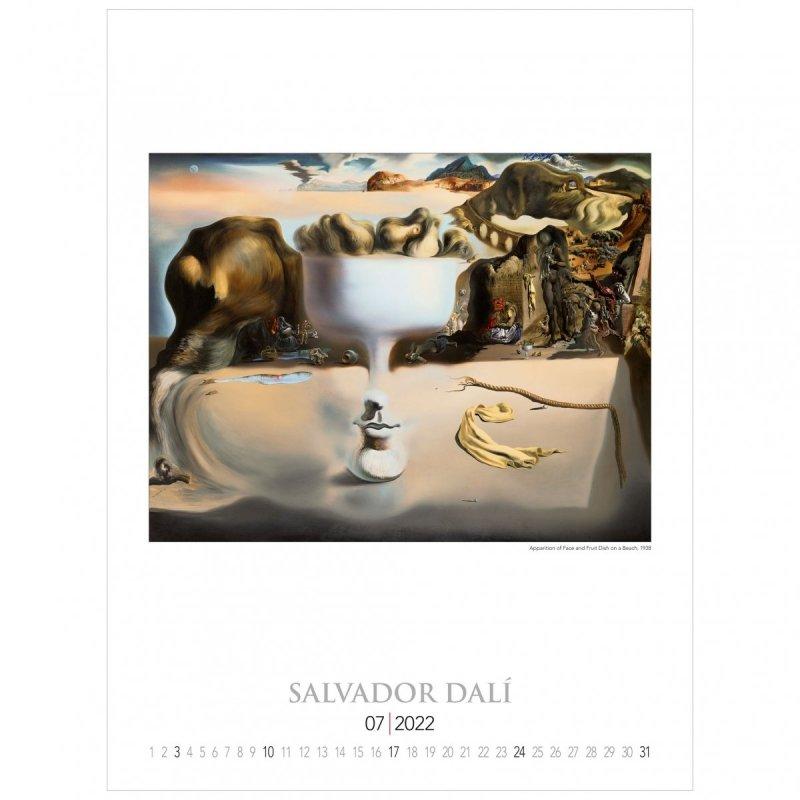 Kalendarza ścienny wieloplanszowy z reprodukcjami obrazów Salvadora Dali - lipiec 2022