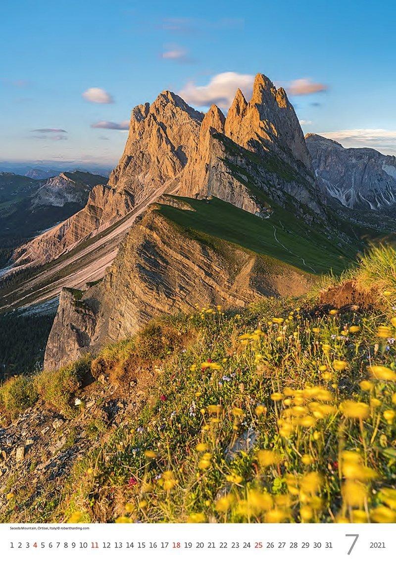Kalendarz ścienny wieloplanszowy Mountains 2021 - lipiec 2021