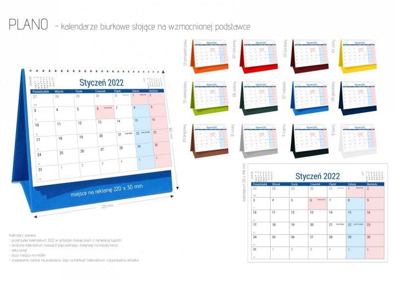 Kalendarz biurkowy stojący na podstawce PLANO 2022 żółty
