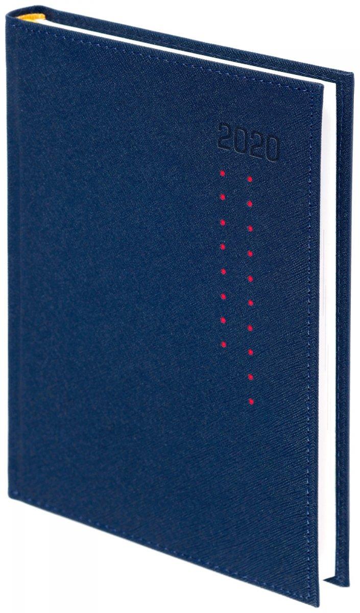 Kalendarz książkowy 2020 A4 dzienny oprawa ROSSA granatowa/czerwone kropki - oprawa przeszywana