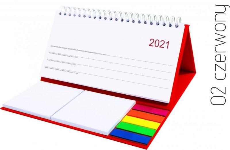 Kalendarz biurkowy z notesami i znacznikami MIDI TYGODNIOWY 2021 czerwony