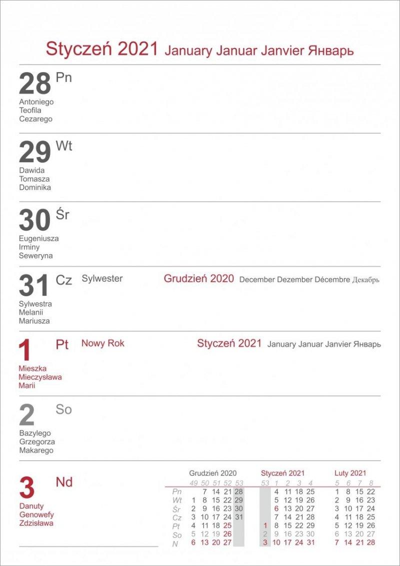 Kalendarium do kalendarza biurkowego w układzie tygodniowym 2021