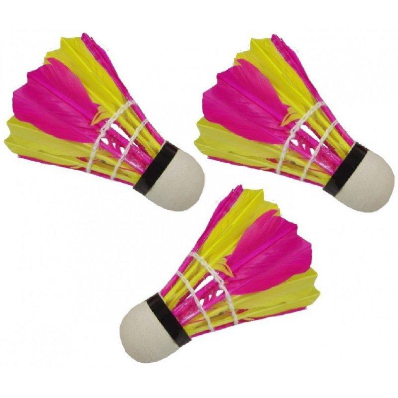 Lotka badminton z piór  3 szt kolorowa