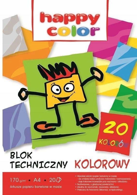 BLOK TECHNICZNY KOLOR A4 HAPPY COLOR 20 KARTEK