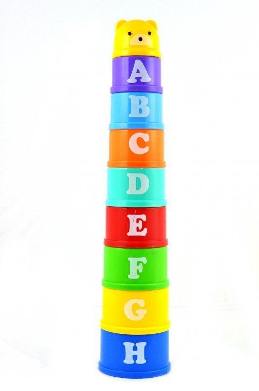 Klocki wieża piramida kubeczki cyfry i litery