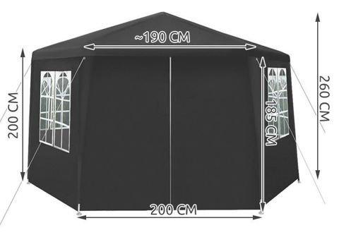 Pawilon ogrodowy 6 ramienny 2x2x2m szary