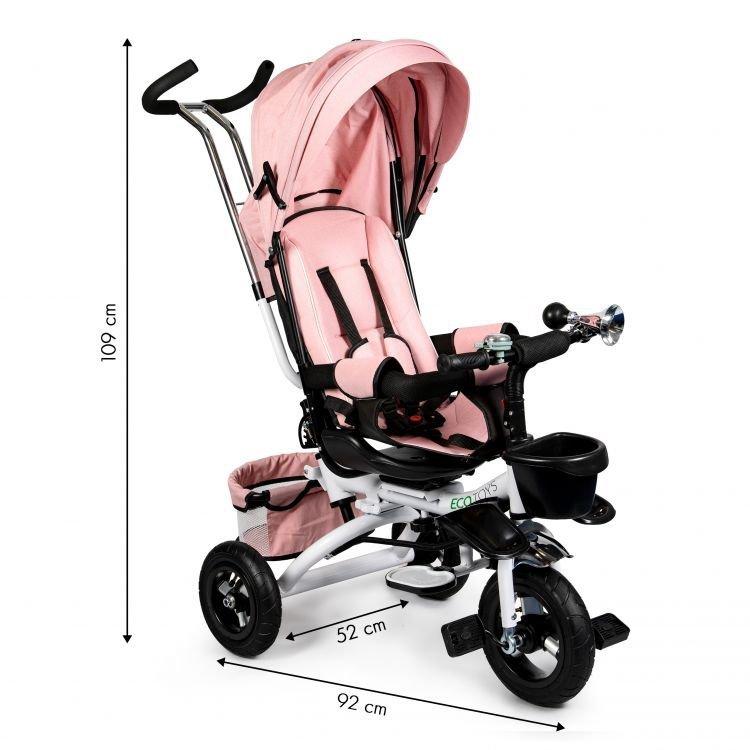 Rowerek trójkołowy obrotowy 360° Różowy Delux z daszkiem