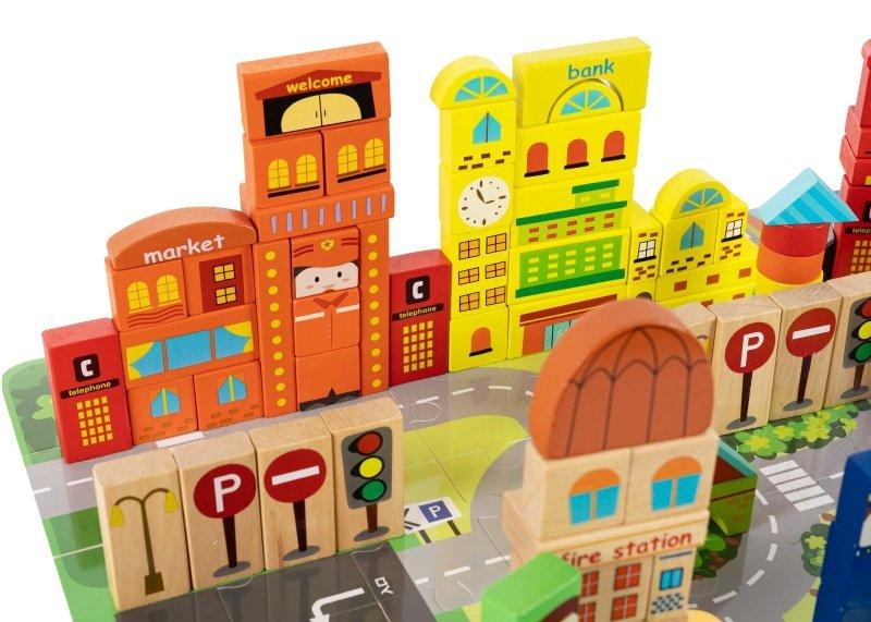 Drewniane klocki edukacyjne z matą puzzle 196 elementów