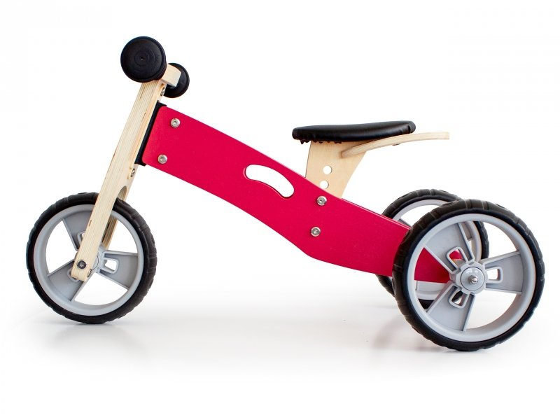 Rowerek biegowy trójkołowy drewniany 2w1 Pink Ecotoys