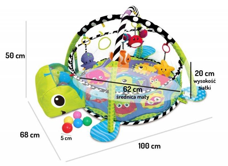 Duża mata edukacyjna żółw kojec piłeczki ECOTOYS