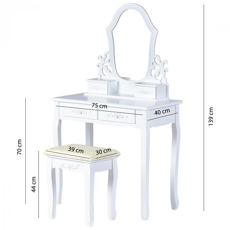 Toaletka kosmetyczna lustro pufa 4 szuflady biała ModernHome