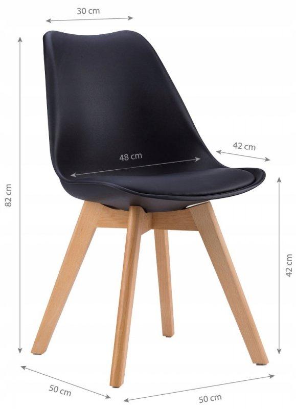 Krzesło zestaw krzeseł do salonu jadalni z poduszką Czarne ModernHome
