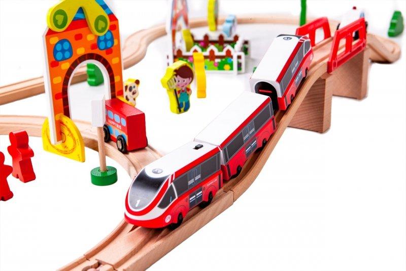 Drewniana kolejka tor pociąg na baterie Ecotoys