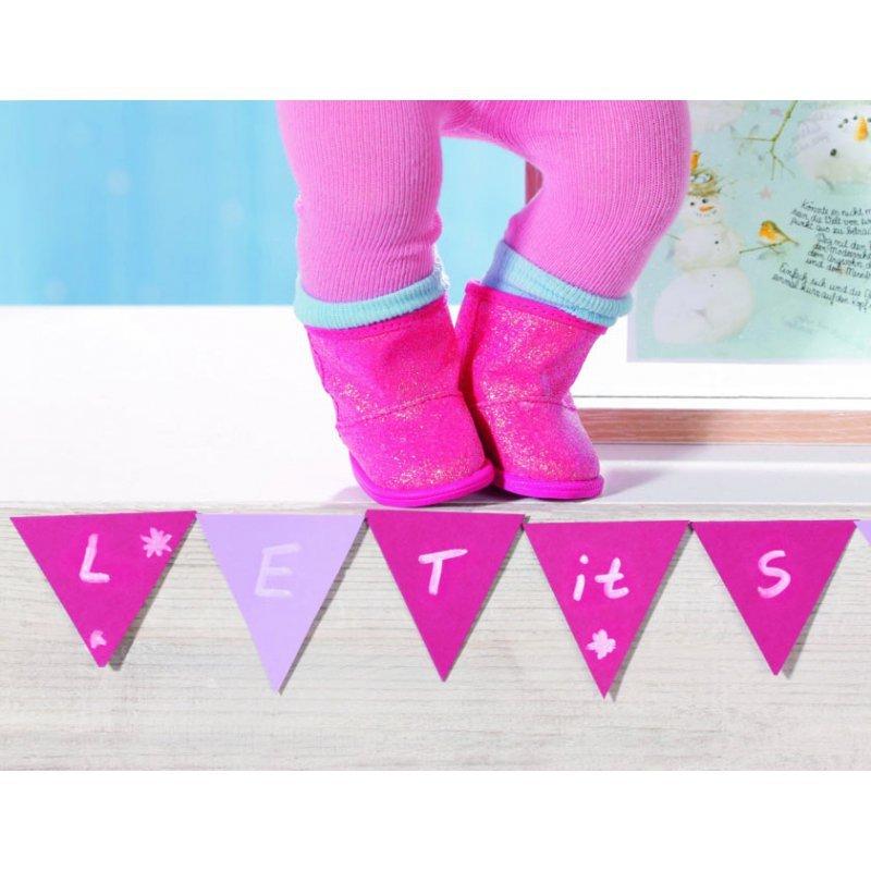Buciki zimowe dla lalki Baby Born 43 cm Różowe