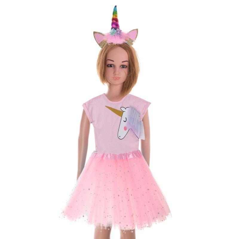 Kostium strój karnawałowy Jednorożec opaska+ spódniczka różowy