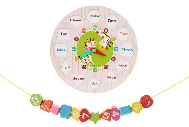 Drewniany zegar dla dzieci 12 klocków do nawlekania