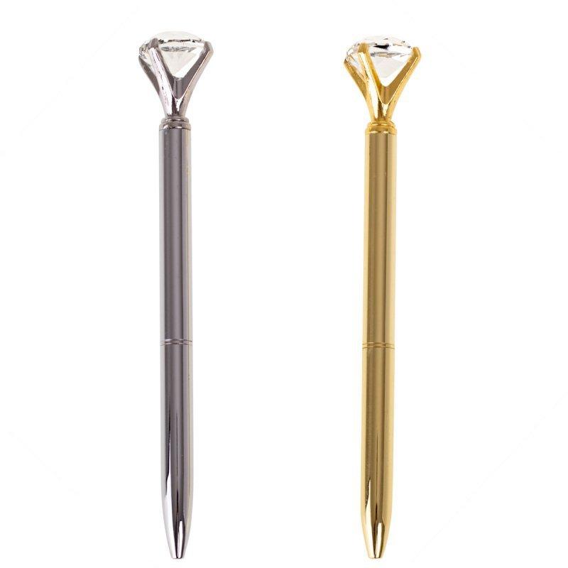 Długopis metalowy z diamentem srebny