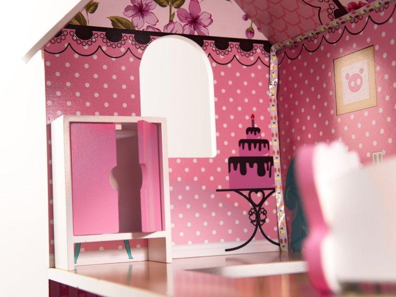 Domek-drewniany-dla-lalek-Różowa-Willa-70cm-LED-7