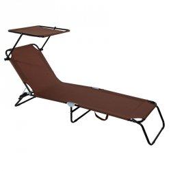 Łóżko turystyczne kempingowe składane z daszkiem brązowe