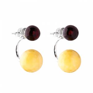 Orecchini perno, sfera multicolore, argento con pietra d'ambra