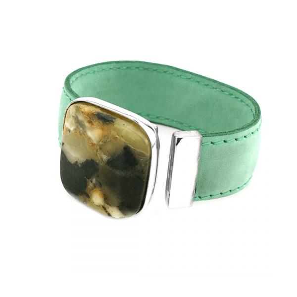Bracciale Esclusivo con Ambra Rettangolare, Tipo Orologio, Cinturino in Pelle Verde, Pietra Multicolore