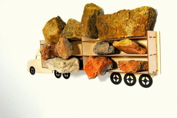 Półka ciężarówka na autka drewniana