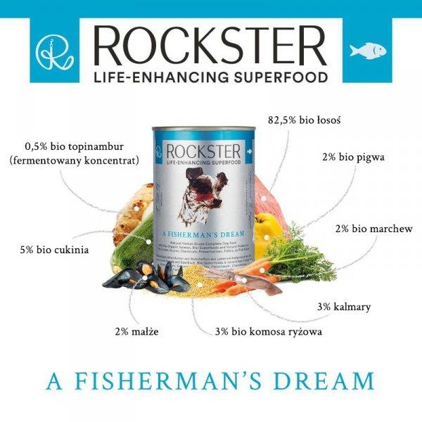 Rockster A fisherman's dream - BIO łosoś, kalmary i małże 340g