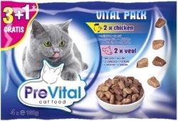 PreVital 11297 Multipack 4x85g wołowina łosoś sos
