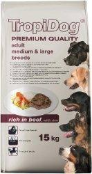 Tropidog 57078 Premium Adult M&L Beef&Rice 15kg