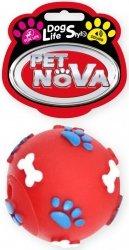 Pet Nova 1403 Piłka wzór łapek i kości 6cm czerwon