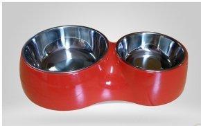 Miska z melaminy DB-04-L podwójna czerwona