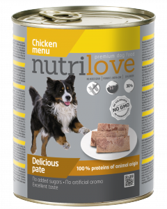 Nutrilove Dog 11453 puszka 800g kurczak pasztet