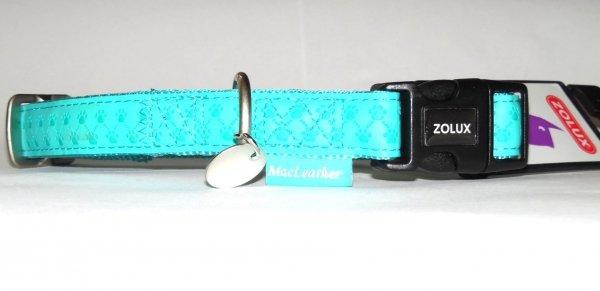 Zolux 435172TUR  Obroża Mac Leather 20mm turkus