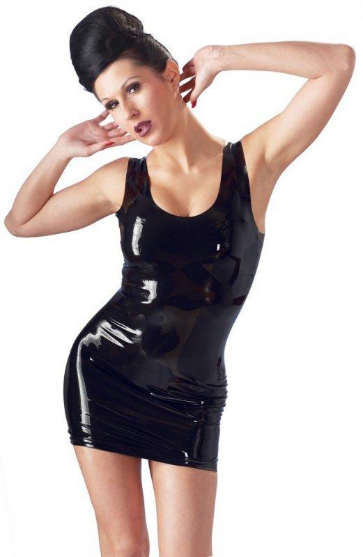 Lateksowa mini sukienka czarna M