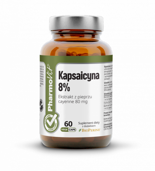 Kapsaicyna 8% Ekstrakt z pieprzu cayenne 80 mg - 60 kapsułek Vcaps® PharmoVit