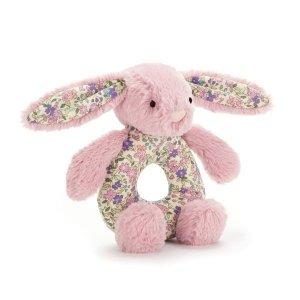 Grzechotka królik różowy k.uszy 13cm