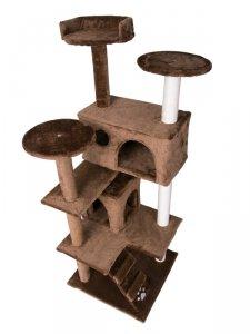 Drapak, domek dla kota 130cm Pethaus ciemnobrązowy DR-200