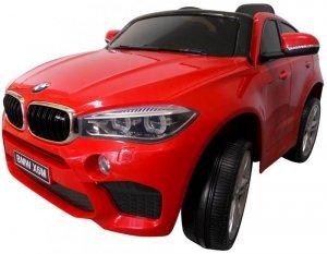 BMW X6M czerwony Miękkie koła Eva, miękki fotelik Licencja