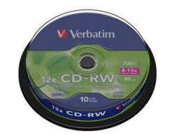 CD-RW VERBATIM 700 MB 12x Cake 10  szt.