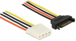 Kabel zasilający DELOCK SATA 15 pin (gniazdo) - 4 pin (gniazdo) 0.3m. 60139