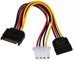 Kabel zasilający AKYGA SATA (wtyk) - SATA (gniazdo) + Molex 0.15m. AK-CA-32
