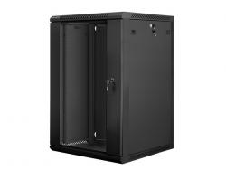 Szafa instalacyjna wisząca 19'' 18U 600X600mm czarna (drzwi      szklane)