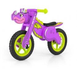 Rowerek biegowy drewniany Dino Violet #B1