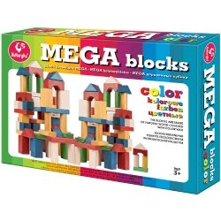 Klocki Drewniane Kolorowe Mega Blocks Kukuryku 74 el.