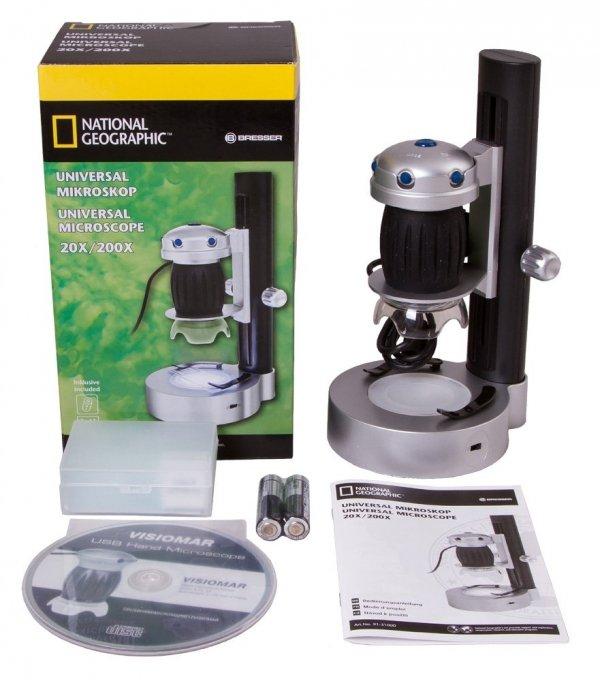 Mikroskop cyfrowy Bresser National Geographic z portem USB i podstawką