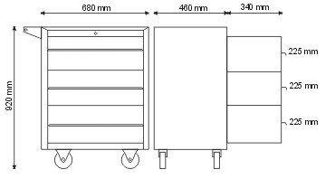 Szafka narzędziowa z 3 szufladami P-1-05-02